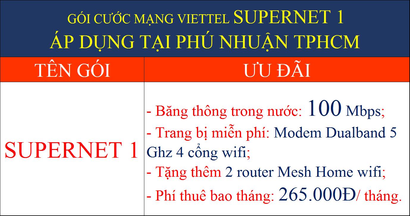 Gói cước mạng Viettel Supernet 1 tại Phú Nhuận TPHCM