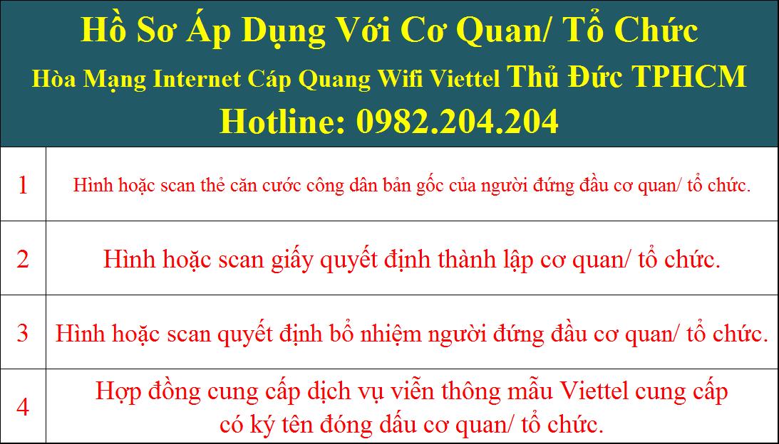 Hồ sơ đăng ký lắp mạng Viettel Thủ Đức cơ quan