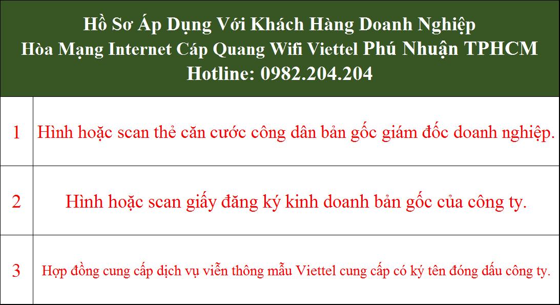 Hồ sơ đăng ký mạng Viettel doanh nghiệp tại Phú Nhuận