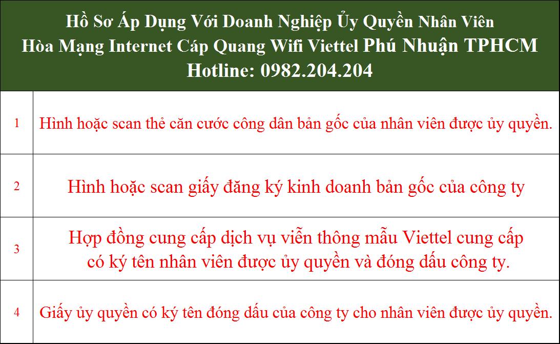 Hồ sơ đăng ký wifi Viettel doanh nghiệp ủy quyền tại Phú Nhuận