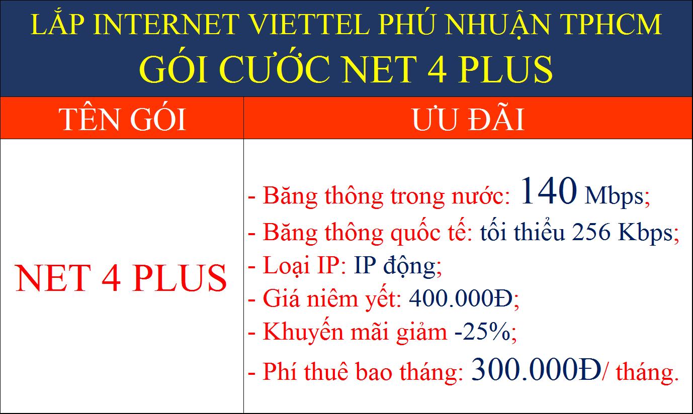 Lắp internet Viettel Phú Nhuận TPHCM gói cước Net 4 Plus