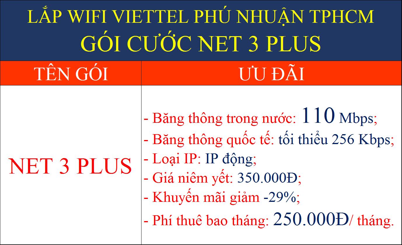 Lắp wifi Viettel Phú Nhuận TPHCM gói cước Net 3 Plus