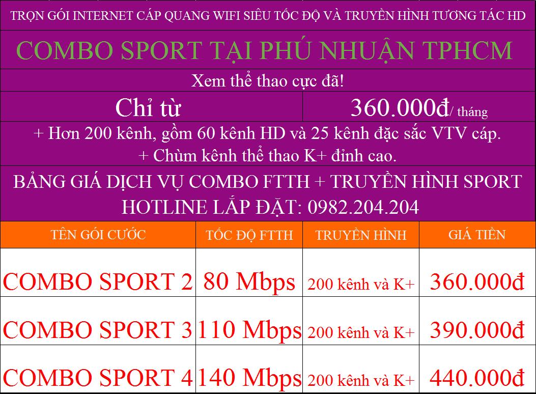 Ưu đãi lắp cáp quang Viettel Phú Nhuận TPHCM các gói combo truyền hình K+